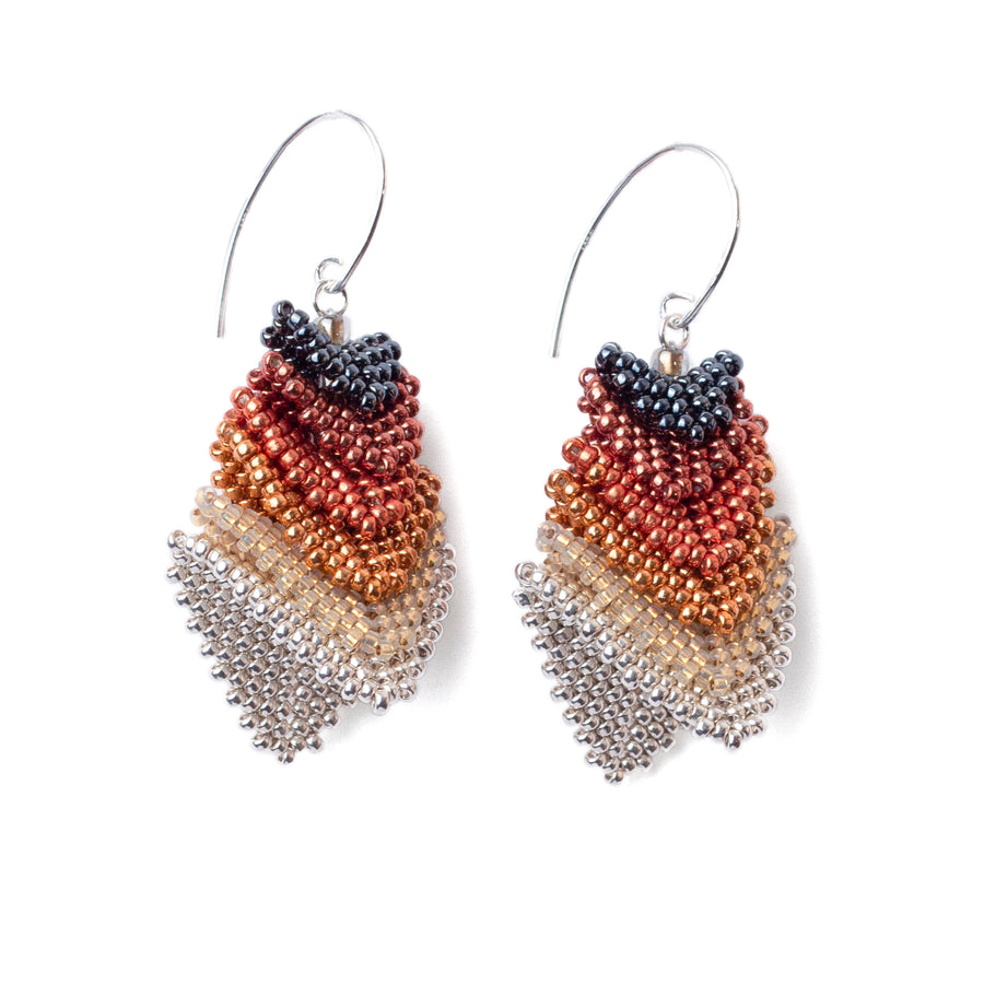 Thousand Hills Earrings in Red Gold and Silver