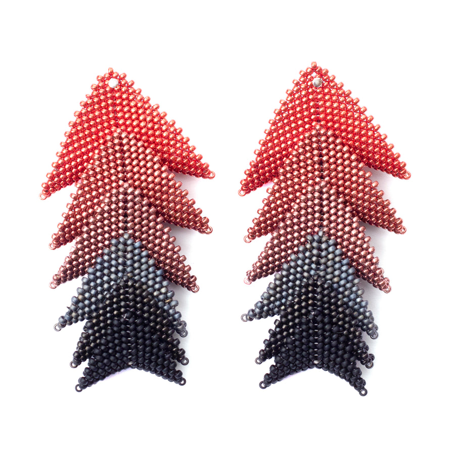 Thousand Hills Long Earrings in Red and Slate