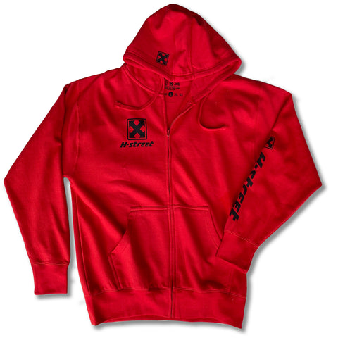 OG MARK LOGO </p> RED ZIP HOODIE