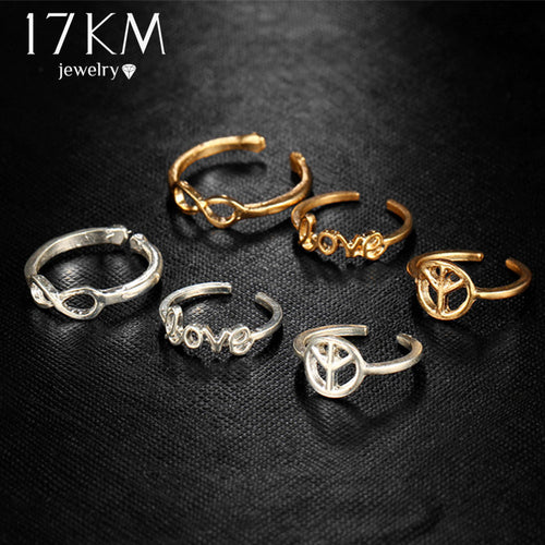 Infinity Peace Love Toe Ring Set