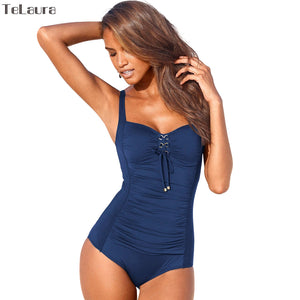 One Piece Vintage Swimsuit with Tie Front Closure - 3 Colours