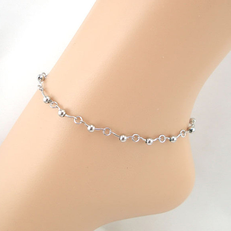 Beaded Line Chain Anklet