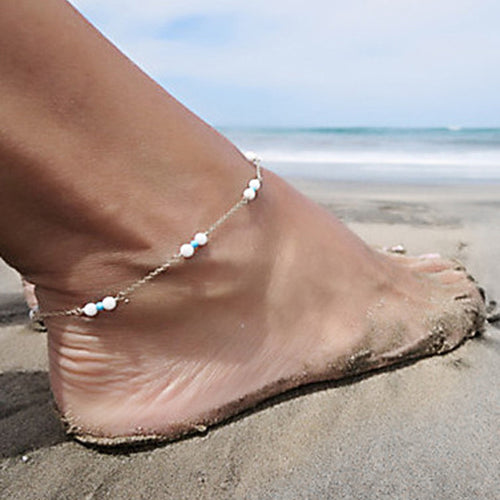Womens Handmade Bead Chain Anklet