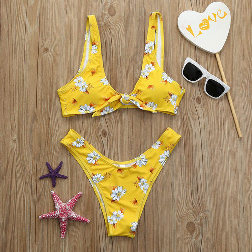 Yellow Bikini with White Daisies