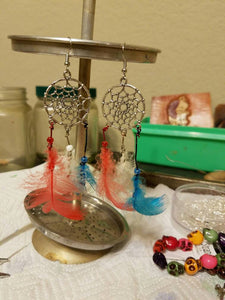 Red, white and blue Dream Catcher Feather Earrings