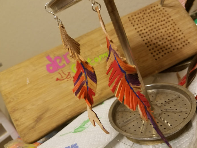 Twisty Leather Feather Earrings