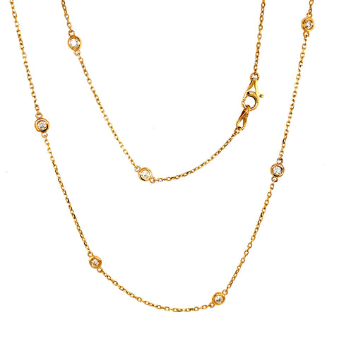 14K Gold Bezel Set Diamond Necklace 0.70 cttw