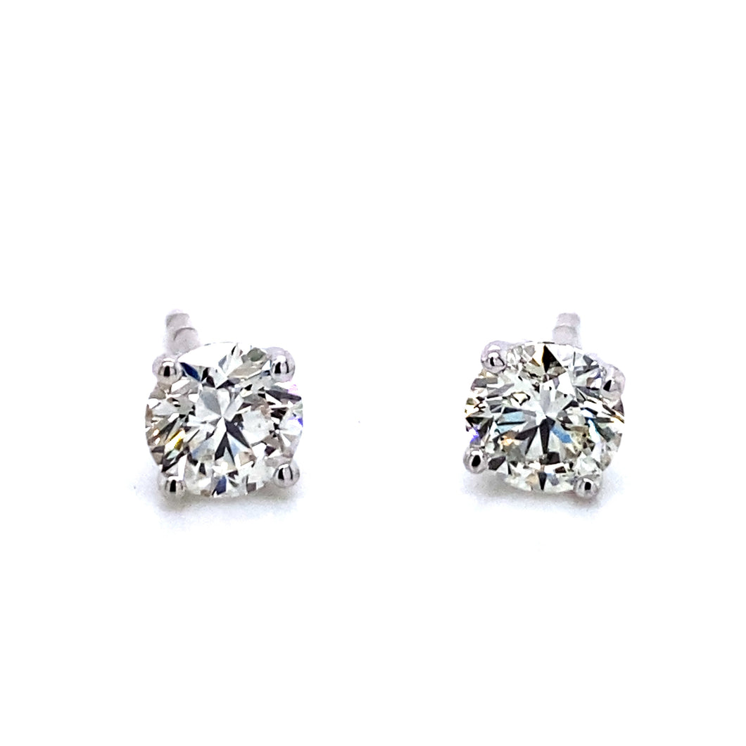 14K Gold Diamond Stud Earrings, 4 prong 0.50 cttw