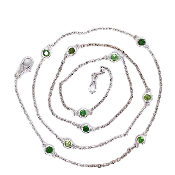 "14K White Gold and Green Chrome Tourmaline Station Chain, Bezel Set Chain by the yard 18"" Necklace 0.90 ct"
