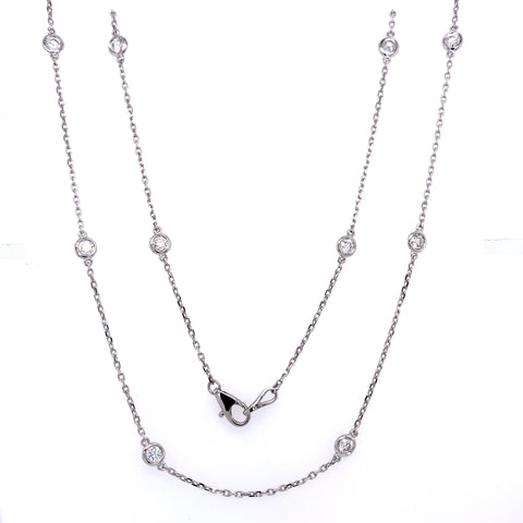 "14K Gold Diamond Bezel Set Necklace 18"" 1.00cttw"