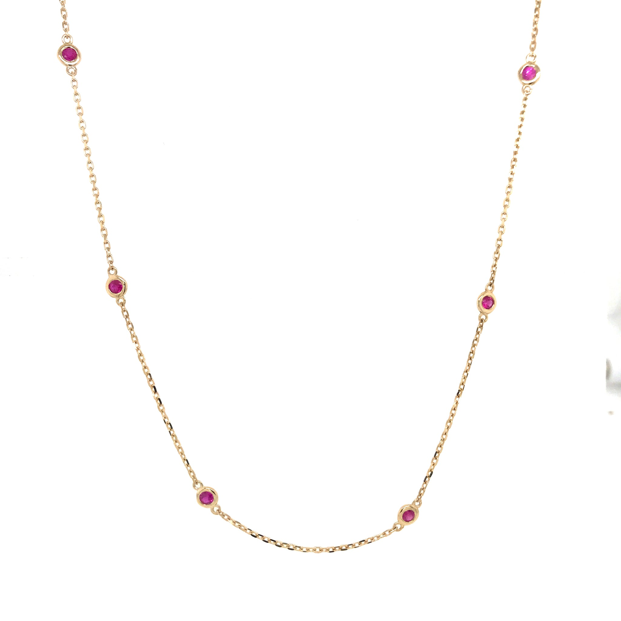 "14K Yellow Gold and Ruby Station Chain, Bezel Set Chain by the yard 18"" Necklace 0.90 ct"