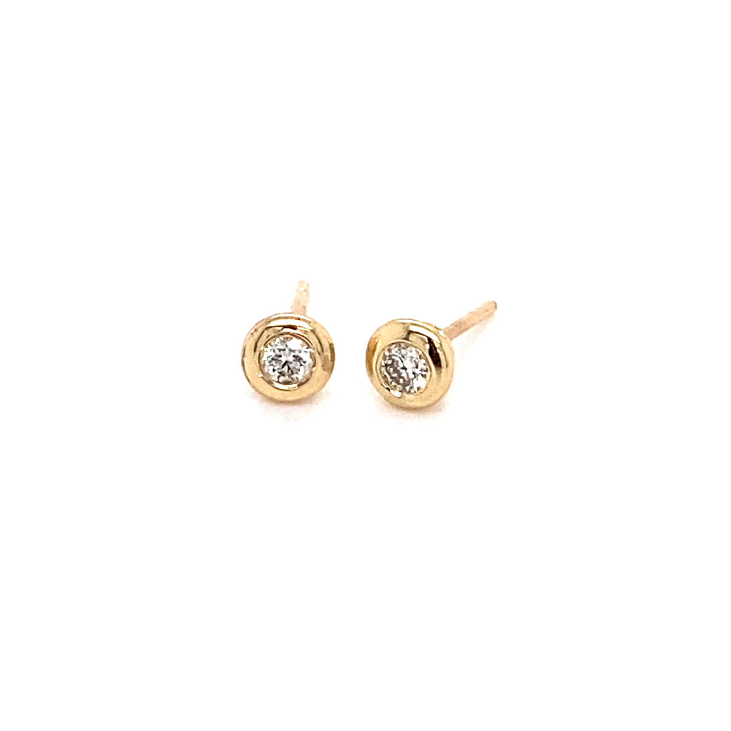 14K Gold Beveled Bezel Stud Earrings, 0.13 cttw