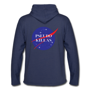 No Psedo(Unisex Lightweight Terry Hoodie) - heather navy