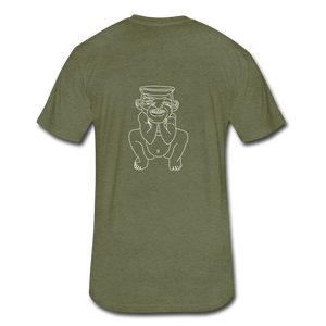 No Religion(Fitted Cotton/Poly T-Shirt by Next Level) - heather military green