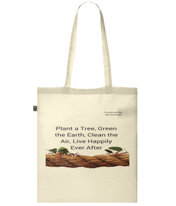 CrowdLeaf Classic Shopper Tote Bag Plant a Tree, Green the Earth, Clean the Air, Live Happily Ever After - Black Type