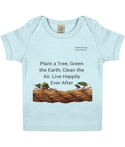CrowdLeaf Baby Lap T-shirt Plant a Tree, Green the Earth, Clean the Air, Live Happily Ever After - Black Type