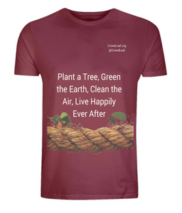 CrowdLeaf Classic Jersey Men's/Unisex T-Shirt Plant a tree, Green the Earth, Clean the Air, Live Happily Ever After