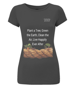 CrowdLeaf Women's Slim-Fit Jersey T-Shirt Plant a tree, Green the Earth, Clean the Air, Live Happily Ever After - White Type