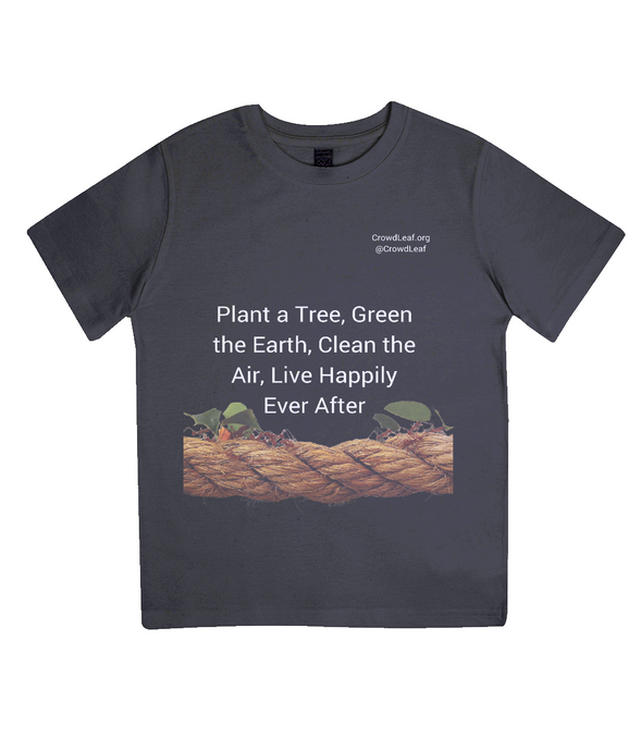 CrowdLeaf Junior Classic Jersey T-Shirt Plant a tree, Green the Earth, Clean the Air, Live Happily Ever After - White Type