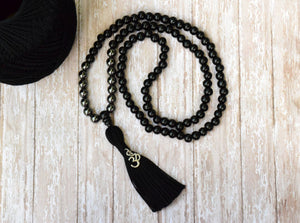 108 Mala Bead, Hematite Mala Bead, Mala Necklace, Black Tassel Necklace,Men Gift,Protective Beads, Meditation Prayer Beads, Bohemian Jewelry