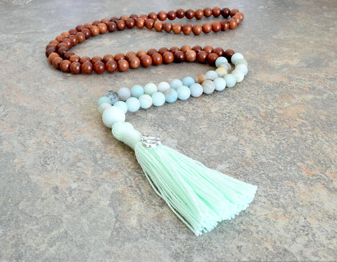 108 Mala Bead, Mala Necklace, Bead Tassel Necklace, Bohemian Jewelry, Mala Bead, Wood Necklace Wood Bead Necklace, Gemstone Bead Necklace