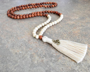 Natural Fossil Bead Necklace, Rosewood and Fossil Meditation Prayer Bead, Tassel Bead Necklace, Bohemian Handmade Jewelry, 108 Mala Bead