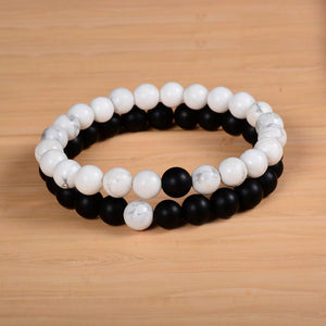 Couples Distance Bracelet (100% Natural Stone White and Black Yin Yang Bracelets)