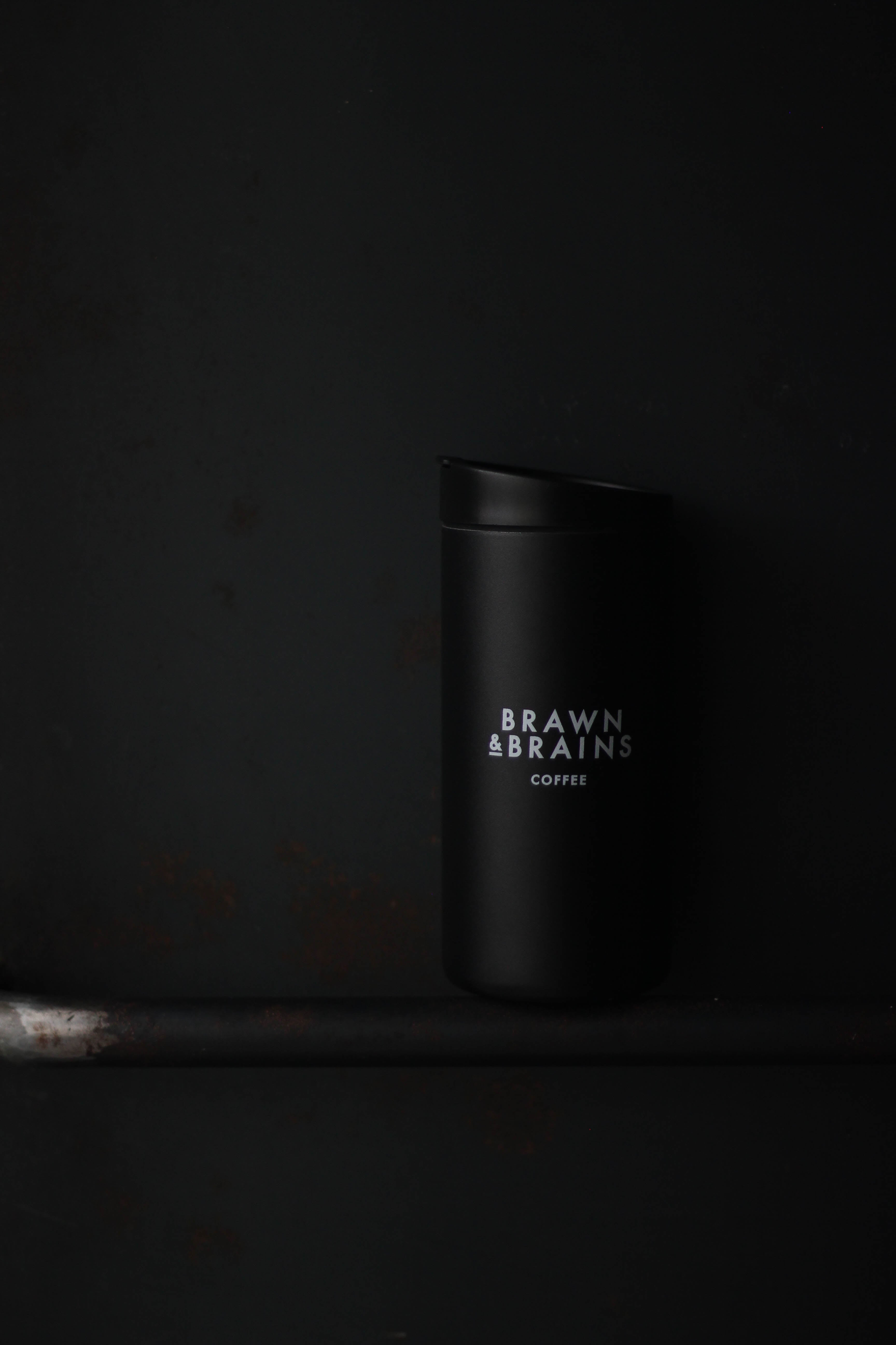 Brawn & brains coffee merchandise, miir black tumbler