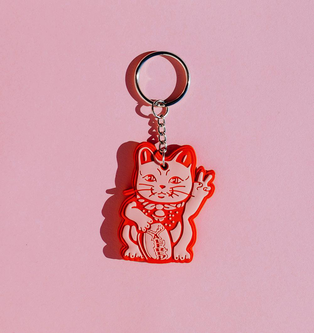 Lucky Alfred Cat Keychain