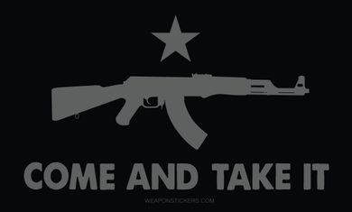 Come and Take It Flag Sticker<br>(Black & Gray) AK47