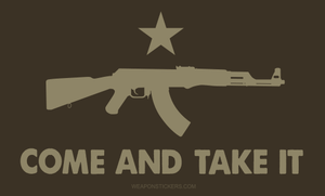 Come and Take It Flag Sticker<br>(Brown & Tan) AK47