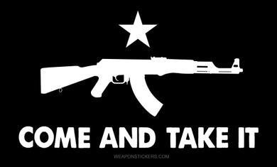Come and Take It Flag Sticker<br>(Black & White) AK47