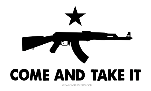 Come and Take It Flag Sticker<br>(White & Black) AK47