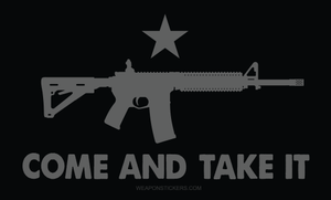Come and Take It Flag Sticker<br>(Black & Gray) AR15