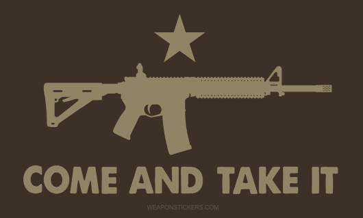 Come and Take It Flag Sticker<br>(Brown & Tan) AR15