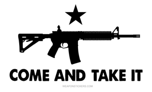 Come and Take It Flag Sticker<br>(White & Black) AR15