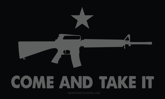 Come and Take It Flag Sticker<br>(Black & Gray) M16