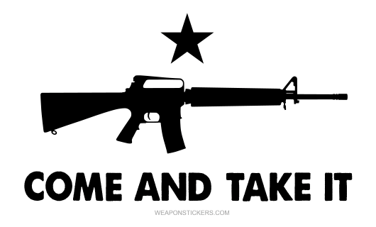 Come and Take It Flag Sticker<br>(White & Black) M16