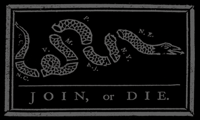 Join or Die Sticker<br>(Black & Gray)