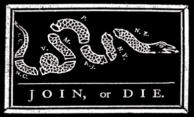 Join or Die Sticker<br>(Black & White)