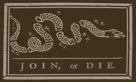 Join or Die Sticker<br>(Brown & Tan)