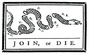 Join or Die Sticker<br>(White & Black)