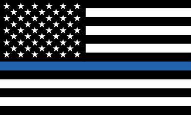 Thin Blue Line Flag Sticker<br>(Black, White & Blue)