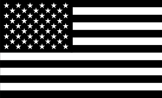 American flag stickerblack white fwd