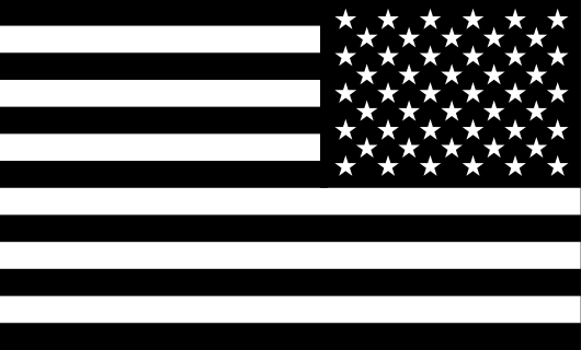 American Flag Sticker<br>(Black & White) REV