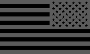 American Flag Sticker<br>(Gray & Black) REV