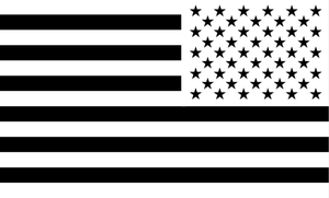 American Flag Sticker<br>(White & Black) REV