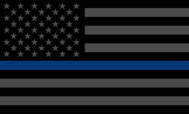 Thin Blue Line Flag Sticker<br>(Black, Gray & Blue)