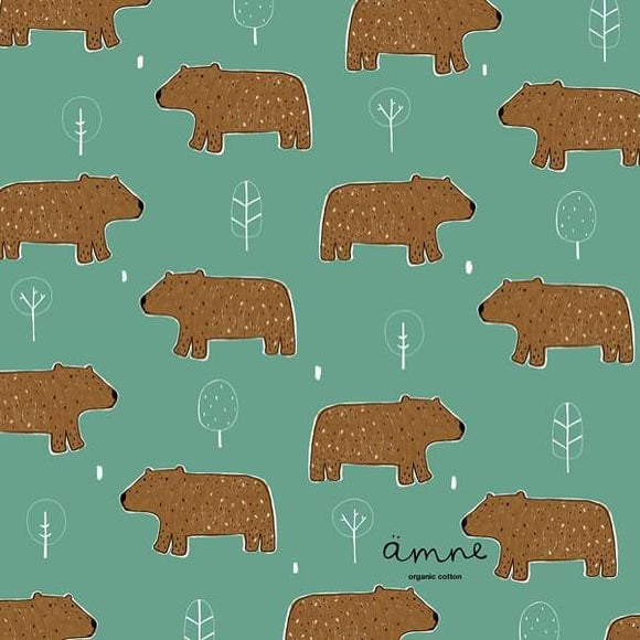 Brown Bear Cotton Lycra Remnant