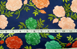 Dark Blue Roses Cotton Lycra Remnant